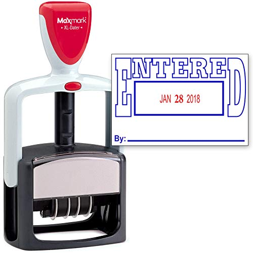 Inking 2000 Plus Self (2000 Plus Heavy Duty Style 2-Color Date Stamp with Entered self Inking Stamp - Blue/Red Ink)