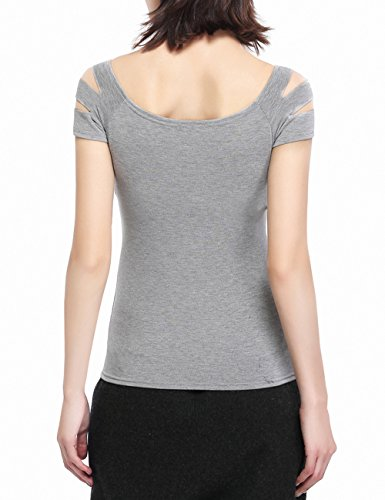 9824c1cc8c9d0b Off Shoulder Tops for Women Ripped TShirts Cut Out Blouses Short Sleeve Tees