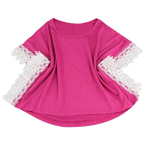 Dress Set Pink Denim - Sunbona 2PCS Little Baby Girls Fashion Light Color Denim Hole Pants+ Striped Lace Short Sleeve T-shirt Loose Tops Dress Outfits Set (5T(4~5Years), hot pink)