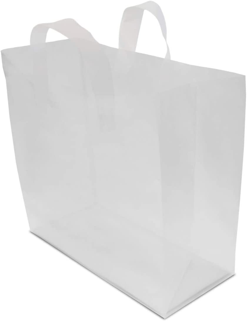 Clear Plastic Bags with Handles, Large Shopping Bags with Gusset & Cardboard Bottom, Frosted White Merchandise Retail Bags for Gifts, Boutiques, Small Business, Parties, Events, Bulk 50 Pcs – 16x6x12