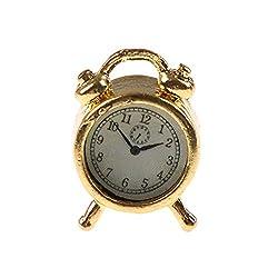 attrasfjwanrw Classic Alarm Miniature Accessory Collection Clock 1/12 Dollhouse Ornament Golden