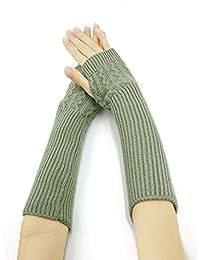 Allegra K Women Ribbed Knit Fingerless Gloves Pair Light Grey