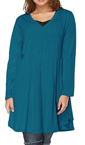 Tunic Flare Blue Womens Neck Color T Dresses Short Shirt Cruiize Hem Pure V SFgqqw1