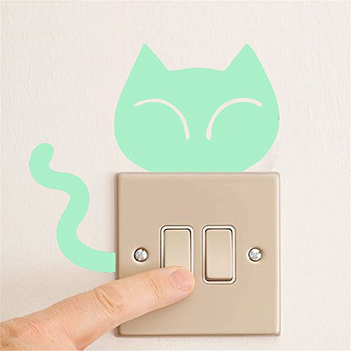 XQXCL Cute Creative Kitten Cat Luminous Switch Wall Sticker Art Decals Decor