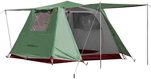 HODLEX Camping Family Tent 4-5 Person Large Waterproof Tent Double Layer Instant Cabin Tent Pop Up with Sun Shade,Automatic Aluminum Pole