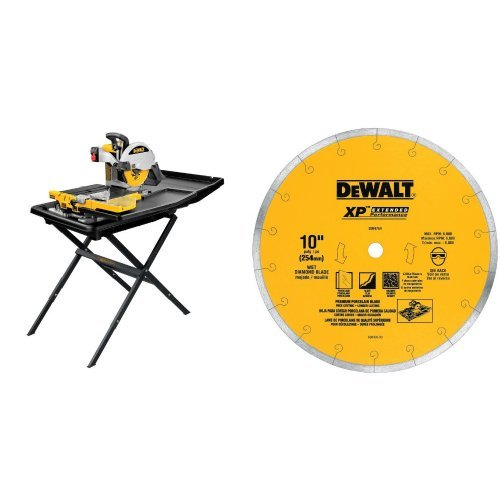 DEWALT D24000S Heavy-Duty 10-inch Wet Tile Saw with Stand  with 10-Inch by .060-Inch Premium XP4 Tile Blade Wet