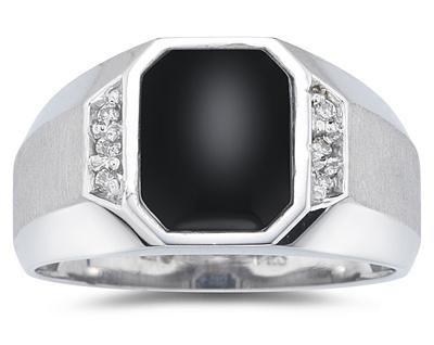 10K White Gold Onyx and Diamond Men's Ring ()