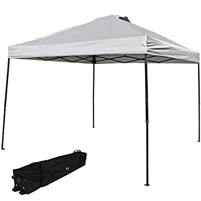 Sunnydaze Heavy-Duty Straight Leg Quick-Up Instant Canopy Event Shelter, 10 x 10 Foot, Includes Rolling Bag, Multiple Colors Available