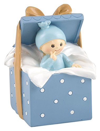 Mopec Y343.3 - Figura de Pastel Hucha bebé Caja Regalo, 9 x 14,5 x 9 cm, Color Azul: Amazon.es: Hogar