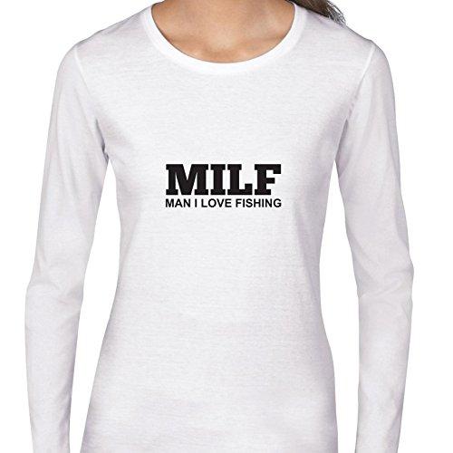 Hollywood Thread Man I Love Fishing Funny Milf Graphic Women's Long Sleeve T-Shirt