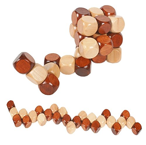 Cube Brain Teaser Puzzle - MAGIKON Snake Cube Wooden Brain Teaser Puzzle toy, 60mm