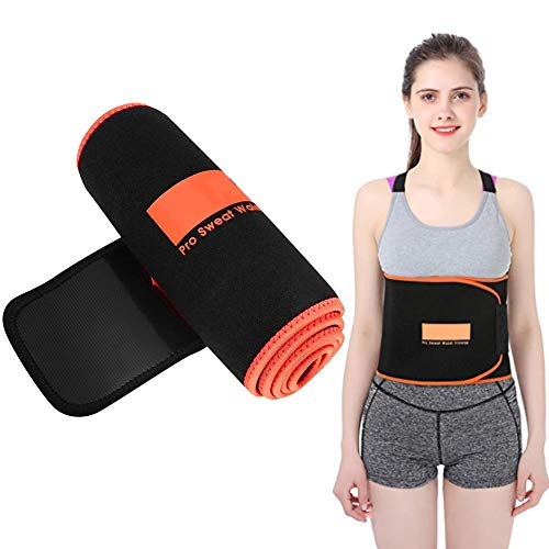 Tihebeyan Lumbar Support Back Brace Comfortable Sweat Abroption Wrap and Workout Waist Trainer Support for Reducing Pain Black with Orange Edge(L)