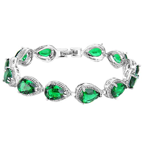 (EVER FAITH Women's Prong CZ May Birthstone Teardrop Tennis Bracelet Emerald Color)