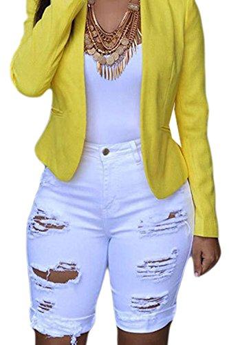 Taille Serrs Les t Suvotimo Arrache Haute White Jeans A Shorts 1gqwE8