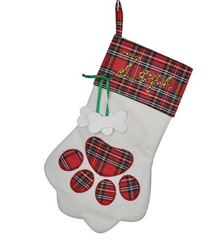 (Personalized Plaid Dog Paw Christmas Stockings - Best Home Fireplace)