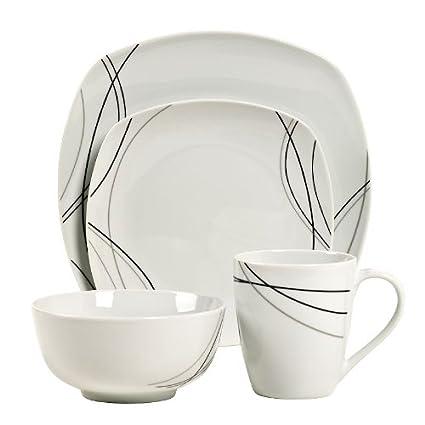Amazon.com | Gallery Alec Square 16-pc. Porcelain Dinnerware Set ...