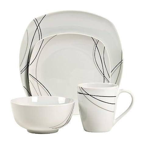 Gallery Alec Square 16-pc. Porcelain Dinnerware Set White/Black  sc 1 st  Amazon.com & Amazon.com   Gallery Alec Square 16-pc. Porcelain Dinnerware Set ...
