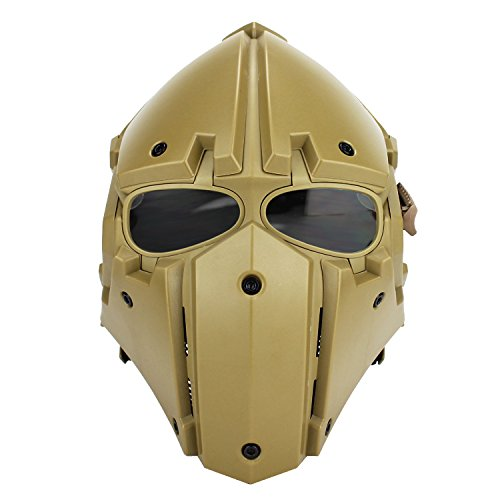 A&N Airsoft Tactical Helmet And Mask 2in1 Protective Gear Full Face Mask In Tan by A&N