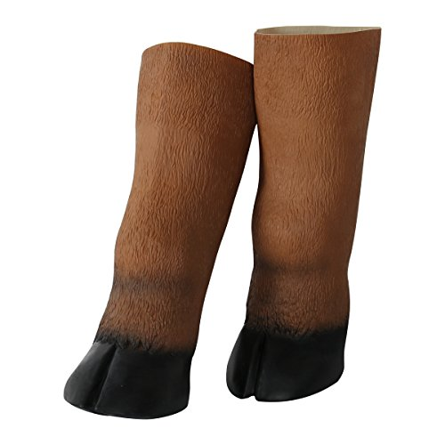 Halloween Costumes For Horse (Creepy Adult Latex Brown Horse Hooves Gloves Halloween Party Costume Theater Props)