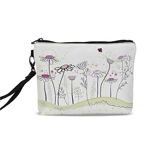 - Nature Simple Cosmetic Bag,Flowerbed with Cute Spring Chamomiles Hand Drawn Girls Ladybug Print for Women,9