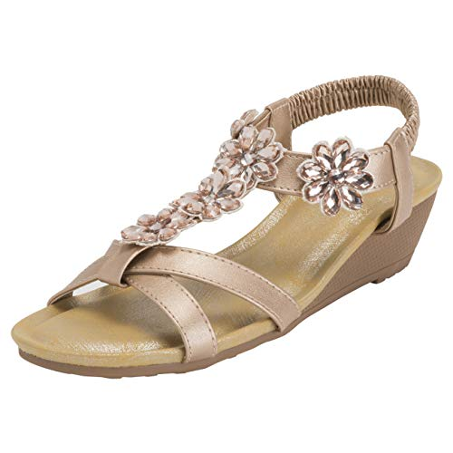 (VIVASHOES Womens Diamond Cross Strap Open Toe Wedge Sandals - Rose Gold - US10/EU41 - KL0447)