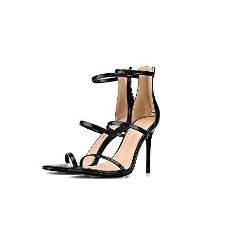 Tacón Black del Fino Abierto Sexy pie de Palabra 8cm Alto Dedo Sandalias Zapatos Mujer Tacón Correa Romanas TdwttqZ