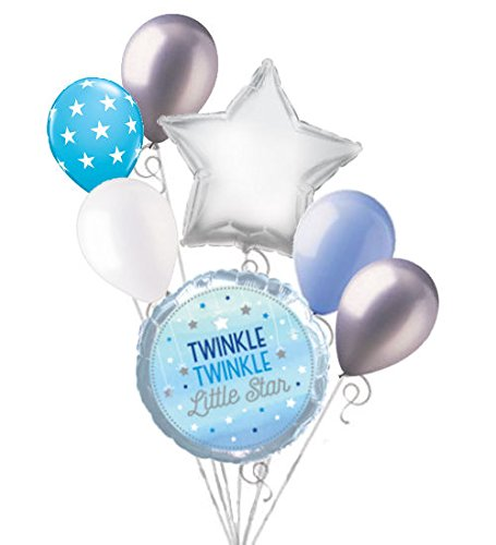 7 pc Twinkle Little Star Baby Boy Balloon Bouquet Party Decoration Shower Blue