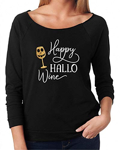 Halloween Shirt Women's Funny T-shirt Happy Hallo Wine for $<!--$24.99-->