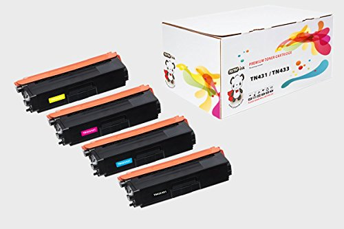 YoYoink 4 Pack Compatible Toner Cartridge Replacement for Brother TN431 / TN433 HIGH YIELD B/C/M/Y (1 Black, 1 Cyan, 1 Magenta, 1 Yellow) - HL-L8260CDW HL-L8360CDW MFC-L8610CDW MFC-L8900CDW