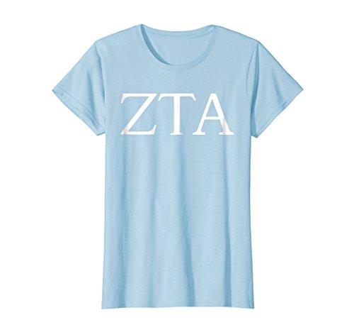(Womens Zeta Tau Alpha Shirt College Sorority Fraternity Tee Large Baby Blue)