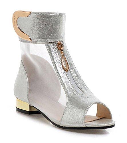 2018 Summer New Elegant Brand Mesh Sandals Metal Decoration Heels Peep Toe Shoes Woman Low Heels Decoration Plus Size 34-48 Footwear... B07D1PVCRQ Shoes 14cab7