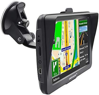 AWESAFE GPS para Coche con Pantalla Táctil HD de 7 Pulgadas Reproductor Multimedia Navegador GPS con Mapa de Europa