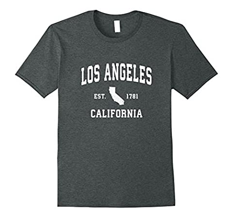 Mens Los Angeles LA California CA T-Shirt Vintage Sports Design 3XL Dark Heather (Relaxed Fit In Los Angeles Dark)
