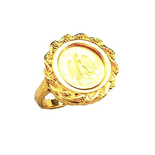 - 14K Yellow Gold 19 Mm Coin Ring With A Mexican Dos Pesos Coin