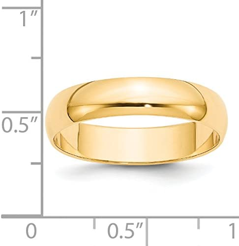 Diamond2Deal 10k Yellow Gold 5mm LTW Half Round Band Fine Jewelry Ideal Gifts for Women