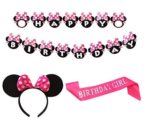 Minnie Mouse Banner (Mickey Mouse Party Supplies Mickey Mouse Happy Birthday Banner Headband Pink Glitter Satin Sash Party Decorations for Cosplay Party Birthday)