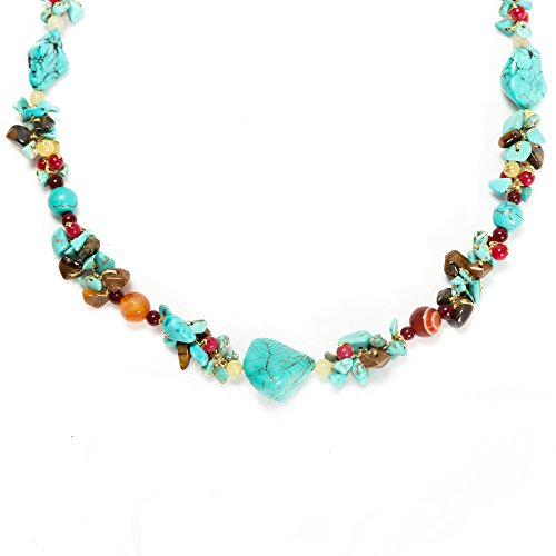 (Blue Turquoise Tiger Eye and Multi Gemstone Clustered Quartz Beaded Silk Thread Necklace 20-22