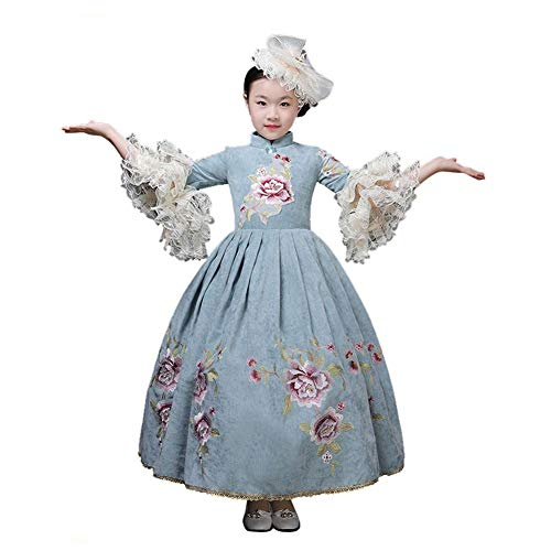 Edwardian Embroidery - HappyStory Girls Embroidery Celadon Costume Chinese Style Princess Dress-140cm Blue