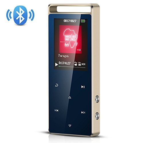 Fashion Design Sd Card (AGPTEK 8GB Bluetooth MP3 Player Touch Button with FM/ Voice Recorder, Lossless Sound Metal Music Player with Independent Lock, 1.8 Inch TFT Screen, (Support up to 128GB),A01T,Royal Blue)