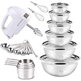 Electric Hand Mixer Mixing Bowls Set, Upgrade 5-Speeds Mixers with 6 Nesting Stainless Steel Mixing Bowl, Measuring Cups…