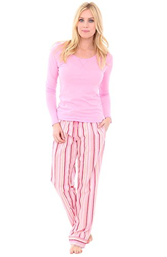 Alexander Del Rossa Womens 100% Cotton Pajamas, Long Knit Top Woven Bottom PJ Set, 2X Pink Dotted Stripes With Pink Prism Top (A0572V572X) (Woven Top Pajama Stripe)