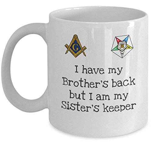 Masonic coffee mug - I have my Brother's back but i am my Sister's keeper - Order of the Eastern Star SISTAR OES PHA symbol - Freemason 11oz ceramic tea cup gift