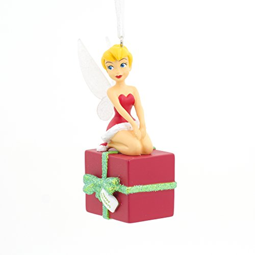 Tinker Bell Tree Ornament of Tink Sitting on a Christmas Box