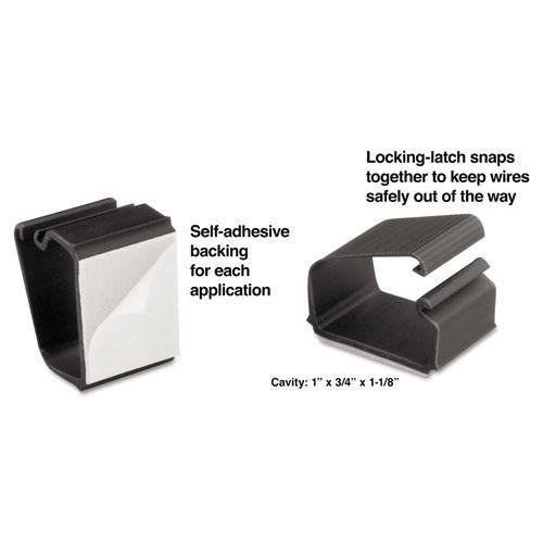 Master Caster Cord Away 00204 Self-Adhesive Wire Clips, Black, 6/Pack