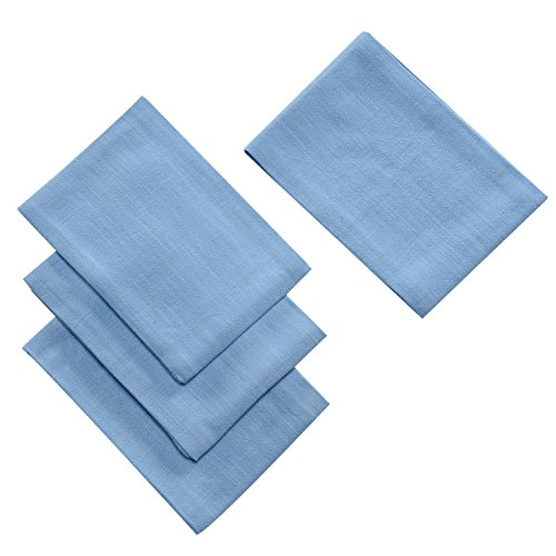 - Jennice House Kitchen Dish Cloth Towels Set (4 Pack) Cotton Linen Hand Towels Super Absorbant Terry Kitchen Tea Towels Dish Cloths (Blue)