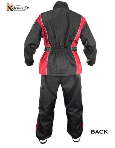 Xelement RN4766 Mens Black/Red 2-Piece Motorcycle Rainsuit with Boot Strap - X-Large by Xelement