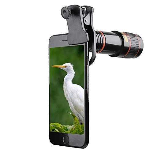 Cell Phone Telephoto Lens, 12X Telescope Zoom Lens & Monocular, Phone Camera Lens Compatible with iPhone X, 8, 8+, 7, 7 Plus, 6s, 6, 5s, Samsung S9, S9+, S8, S8 Plus, S7, S7 Edge, S6 Edge, S6 & More