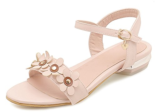 Aisun Women's Daily Buckled Ankle Strap Sandals with Flowers Pink