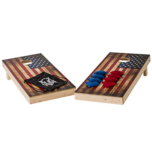 Victory Tailgate Vintage American Flag Cornhole Set - Two 2'x4' Boards, Eight 6x6, 16oz Bags, 1 Drawstring Carry Case for Bags