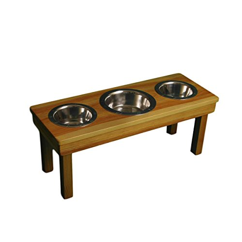 Triple Bowl Medium (12'' tall) Dog Bowl for Dogs from OFTO with 3 stainless steel bowls by Ozarks Fehr Trade Originals, LLC